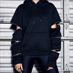 LF Zippered Sleeve Black Hoodie